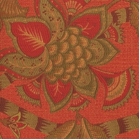 �Baymont � Coral� Gorgeous Orange Green Jacobean Floral Upholstery Fabric by Kalin