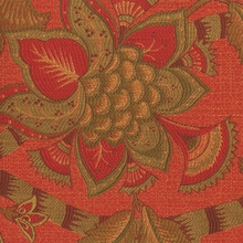 """Baymont - Coral"" Gorgeous Orange Green Jacobean Floral Upholstery Fabric by Kalin"