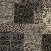 """Jovial - Onyx"" Botanical Patchwork Motif for Upholstery Fabric"