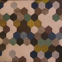 """Maxwell Street - Color 13"" Colorful Hexagon Design Upholstery Fabric from Carnegie Fabrics"