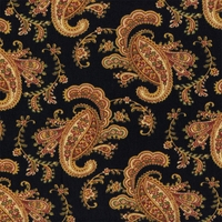 """Pretty Paisley - Onyx"" Modern Black Paisley Print Decor Fabric from Waverly"