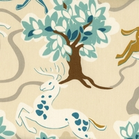 """Prance - Aquamarine"" Modern Deer Fabric Print for Designer Decor by Waverly"