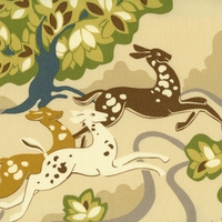 """Prance - Citrine"" Modern Deer Fabric Print for Designer Home Decor by Waverly"