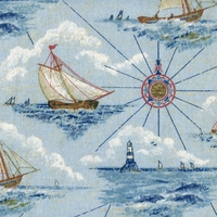 """Mariner's Voyage - Nautical"" Delightful Sailboat Print on Cotton Fabric by Waverly"