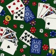 """Orien - Casino"" Poker Card Game Chips and Dice on Cotton Fabric Print"
