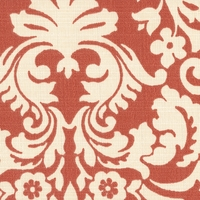 """Muse - Persimmon"" Sun N Shade� Outdoor Red Cream Damask Fabric by Waverly"