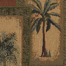"""Barcela - Sienna"" Tropical Palm Tree Tapestry Upholstery Fabric for Decor"