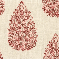 """Kedra - Madder""  Delightful Red and Beige Floral Print by Duralee Fabrics, LTD"