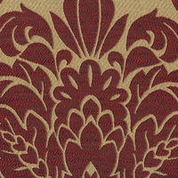 """Ena - Ruby"" Classic Red and Tan Damask Upholstery Fabric from Kalin Fabrics"