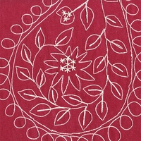 """Dress Up Twill - Red"" Denim Embroidered Paisley Upholstery Fabric P Kaufmann"