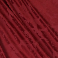 """Wine Country - Claret"" Elegant Crimson Red Jacquard Fabric for Decor"