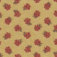 """Annarose - Primrose"" Rose Red and Tan Floral Upholstery Fabric by Robert Allen"