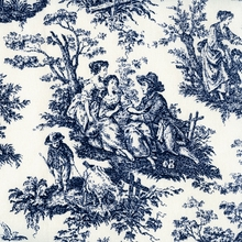 """Rustic Toile - Navy"" Blue Country Life Toile Fabric Print from Waverly"