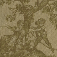 """Piroutte - Lichen"" Sage Green Scenic Toile Tapestry Fabric for Upholstery"