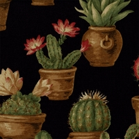 """Sierra - Ebony"" Southwest Cactus Floral Fabric Print  by Kingsway Fabric"