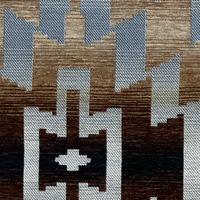 """Cosmo - Empire"" Geometric Blue Brown Southwest Upholstery Fabric by Kalin"
