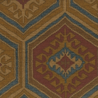 """Cub Cabin - Saddle"" Tribal Kilim Print for Geometric Designer Fabric by Waverly"