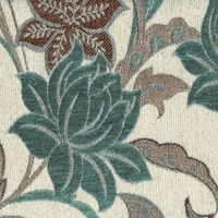"""Melody - Powder"" Rich Teal Floral Chenille Upholstery Fabric by Kalin Fabrics"