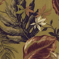 """Leafy Jungle - Citron""  Tropical Fabric Print Botanical Decor from Kahuna Fabric"