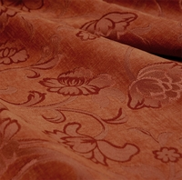 """Veranda - Russet"" Red Orange Floral Chenille Home Decor Fabric from Versailles"