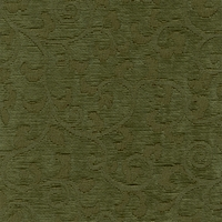 """Visage - Avocado"" Green Scroll Chenille Fabric for Home Decor by Versailles"