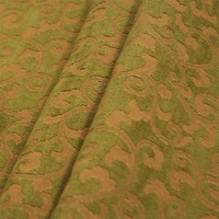 """Visage - Olive"" Green Gold Scroll Chenille Fabric for Home Decor from Versailles"