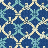 """Heat Wave - Marine"" Blue Outdoor Fabric Sun N Shade� Geometric by Waverly"