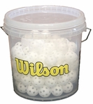 "100 Mini Wilson 5"" Wiffle Balls with Clear Bucket"