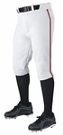 Demarini Adult Pro + Knicker White/Maroon Piped Baseball Pants