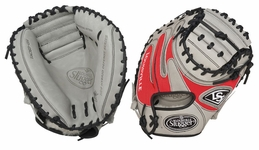 Louisville Slugger HD9 Hybrid Defense Baseball Fielding Glove Catcher's Mitt Grey/Scarlet FGHD14-GSCM1