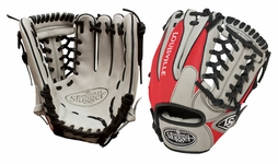 Louisville Slugger HD9 Hybrid Defense Baseball Fielding Glove Grey/Scarlet FGHD14-GS115