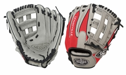 Louisville Slugger HD9 Hybrid Defense Baseball Fielding Glove Grey/Scarlet FGHD14-GS117