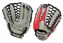 Louisville Slugger HD9 Hybrid Defense Baseball Fielding Glove Grey/Scarlet FGHD14-GS127