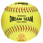 "Worth 12"" Dream Seam Yellow Fastpitch Ball W00540930 1 dz"