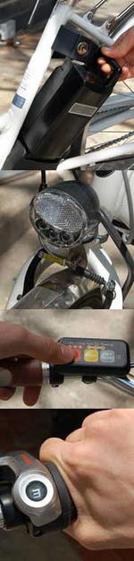 Components of the Sanyo Eneloop electric bike