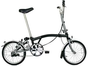 Brompton folding bikes against the rest