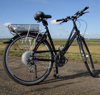 Bicycle with an electric motor wheel