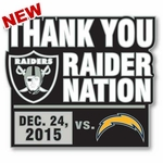 2015 Oakland Raiders vs. San Diego Chargers Game Day Pin