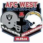 2016 Oakland Raiders vs. San Diego Chargers Game Day Lapel Pin