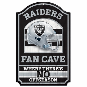 Oakland Raiders 11 x 17 Fan Cave Wood Sign - Click to enlarge