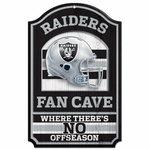 Oakland Raiders 11 x 17 Fan Cave Wood Sign