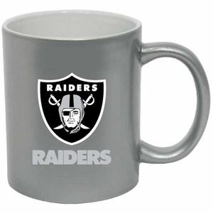 Oakland Raiders 11oz Silver C-Handle Mug - Click to enlarge