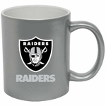 Oakland Raiders 11oz Silver C-Handle Mug
