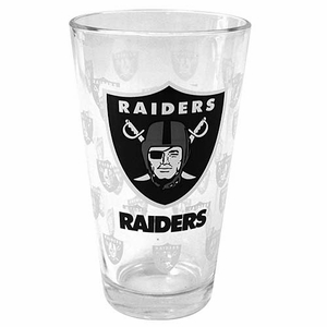 Oakland Raiders 16 ounce Satin Pint Glass - Click to enlarge