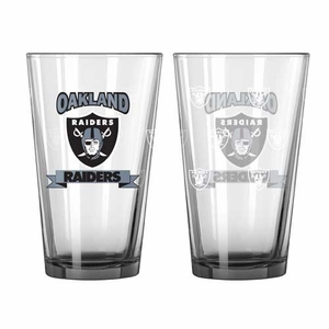 Oakland Raiders 16oz Banner Pint Glass - Click to enlarge