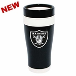 Oakland Raiders 16oz Black & White Travel Tumbler