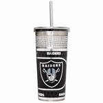 Oakland Raiders 16oz Bling Silver Tumbler