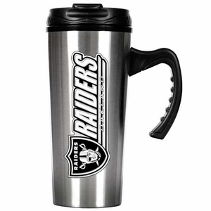 Oakland Raiders 16oz Stainless Steel Travel Mug - Click to enlarge