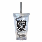 Oakland Raiders 16oz Swirl Straw Tumbler