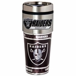 Oakland Raiders 16oz Travel Tumbler with Metallic Wrap